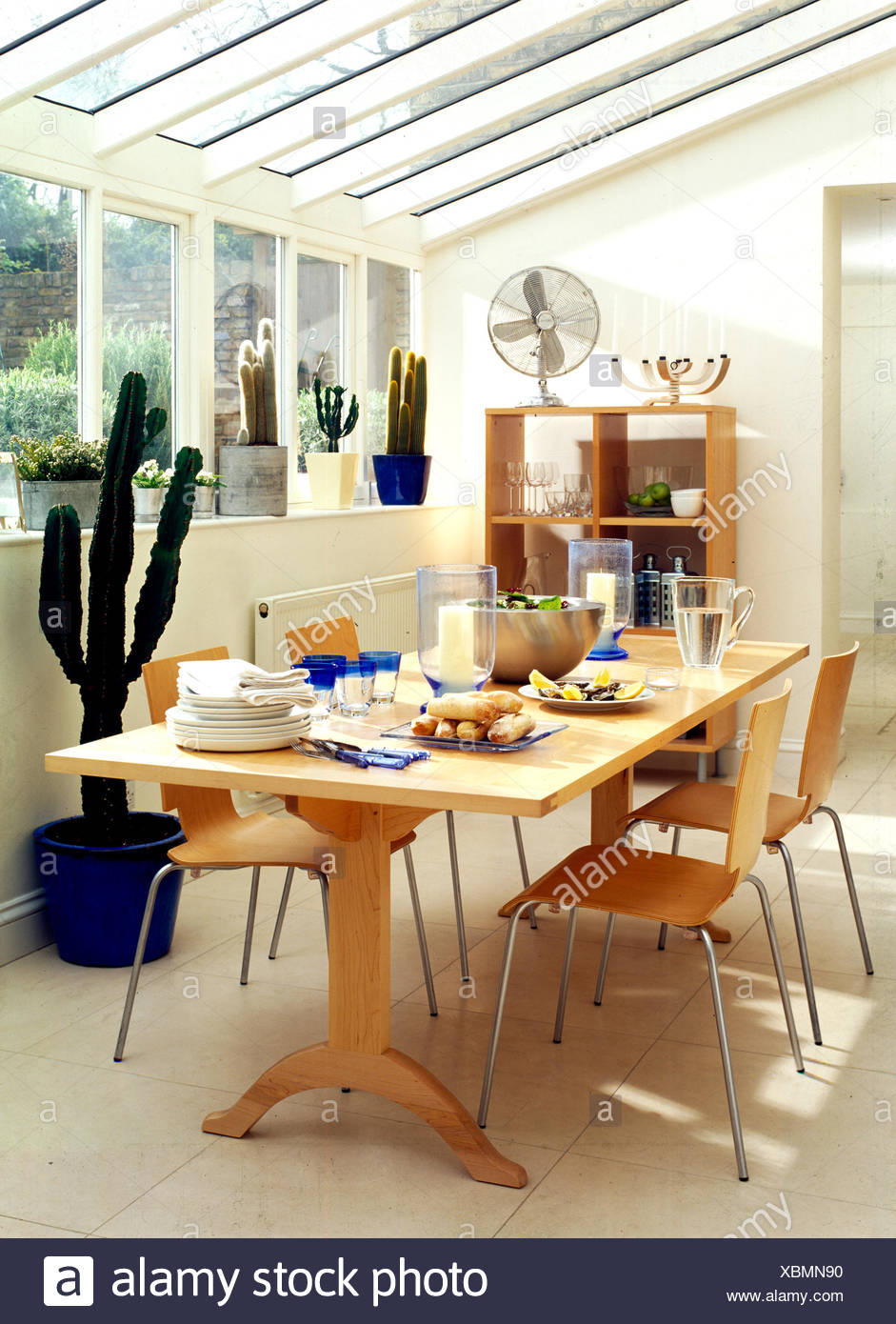 Etonnant Pale Wood Furniture And Cacti In Conservatory Used As Diningroom