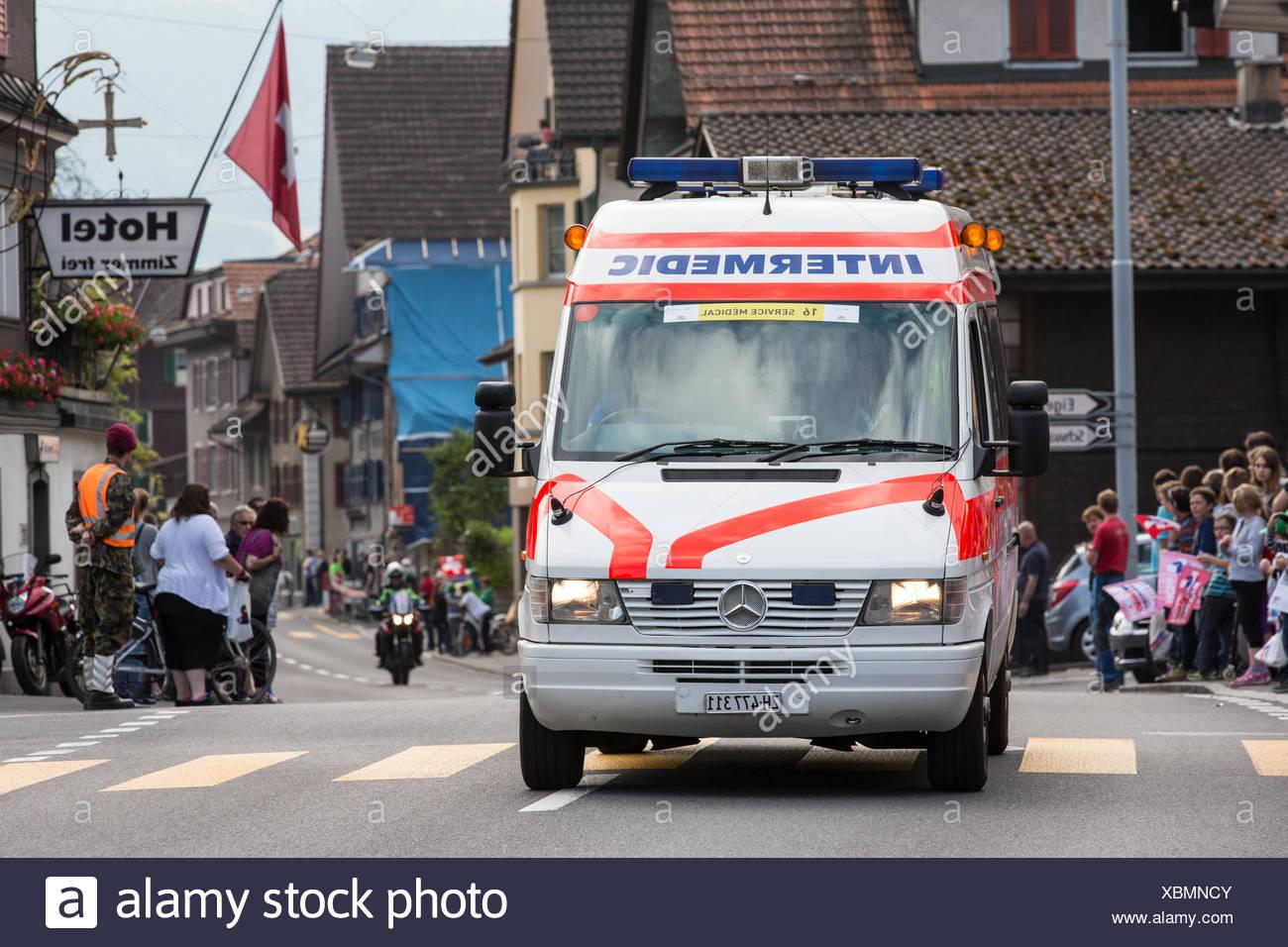 Tour de Suisse - ambulance - Stock Image