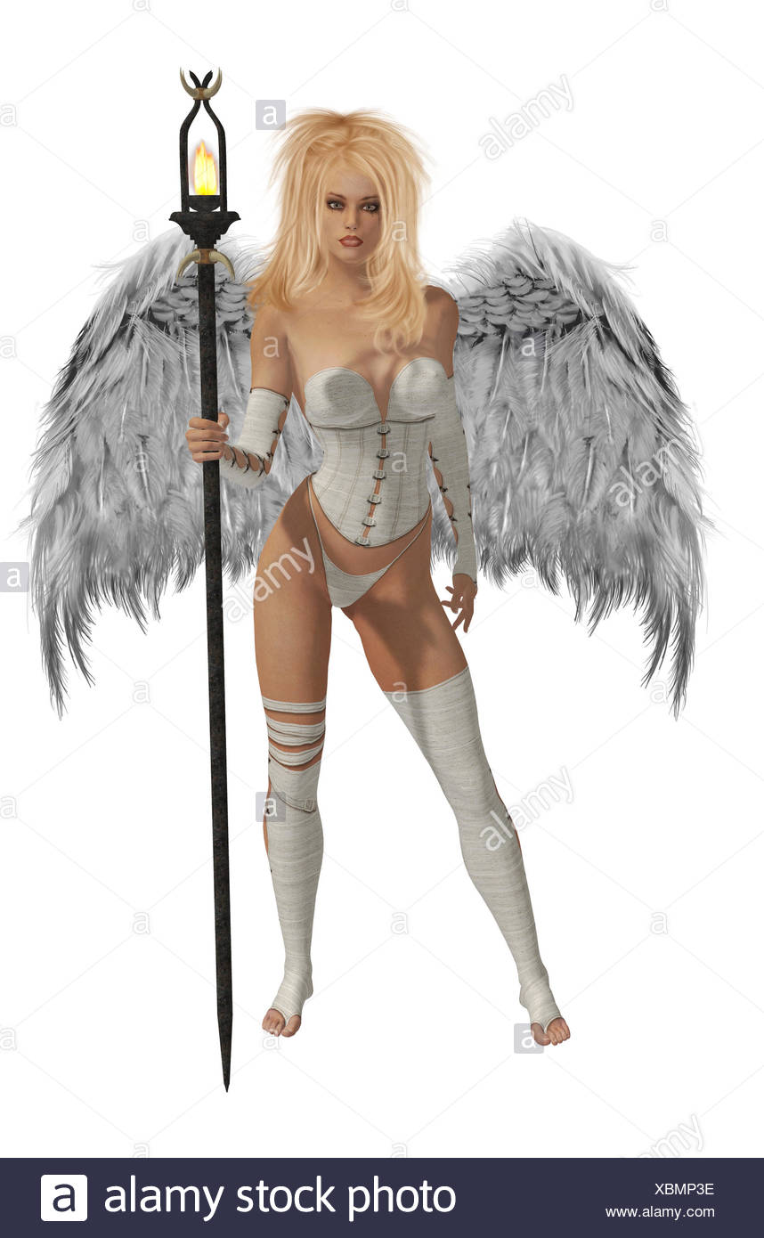 White Winged Angel With Blonde Hair - Stock Image