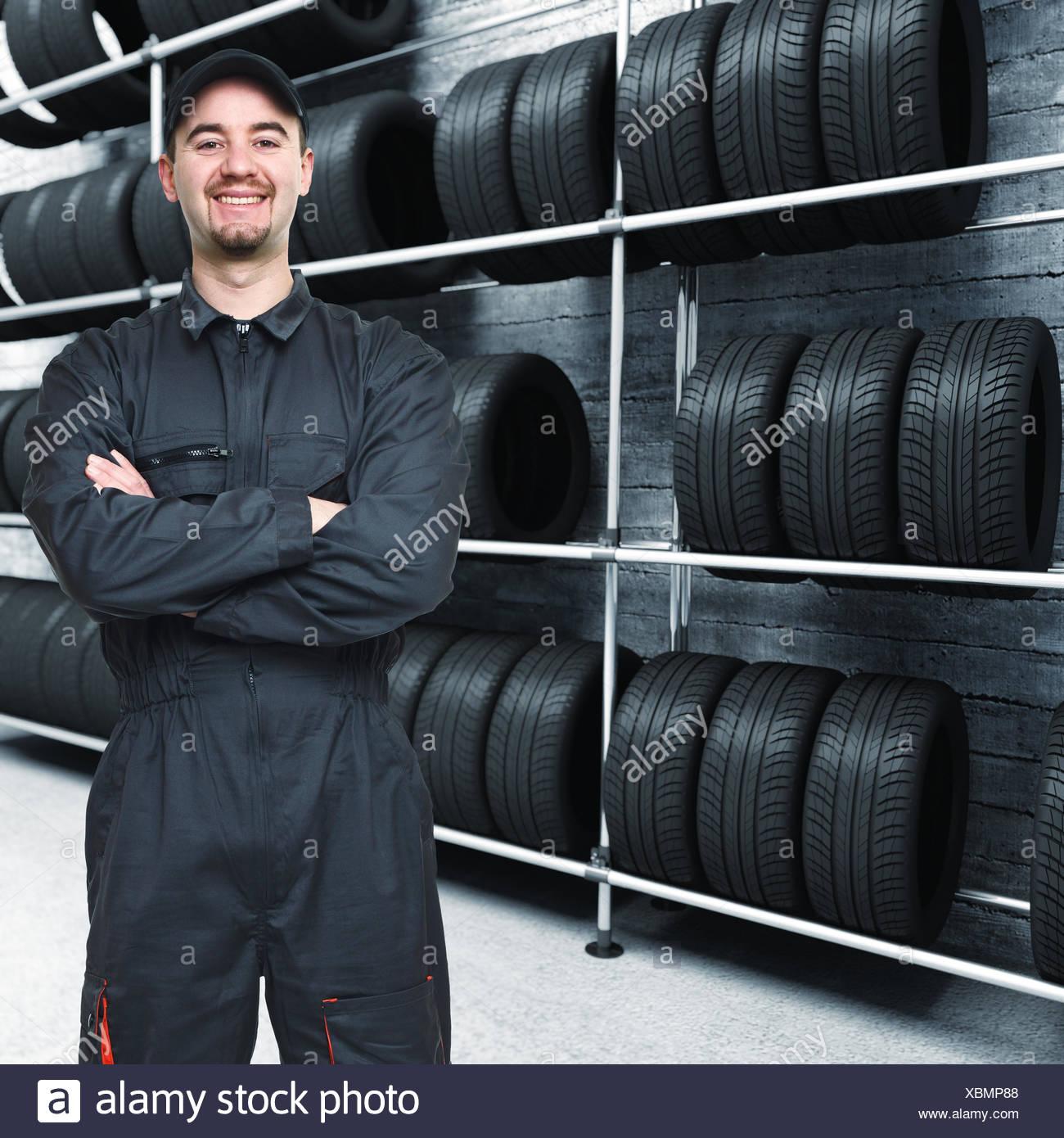 mechanic and garage background - Stock Image
