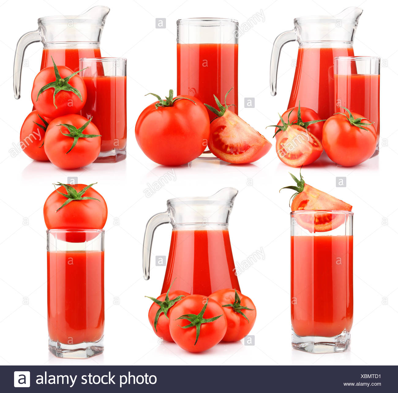 Set of tomatoes juice in pitcher with fruits isolated - Stock Image