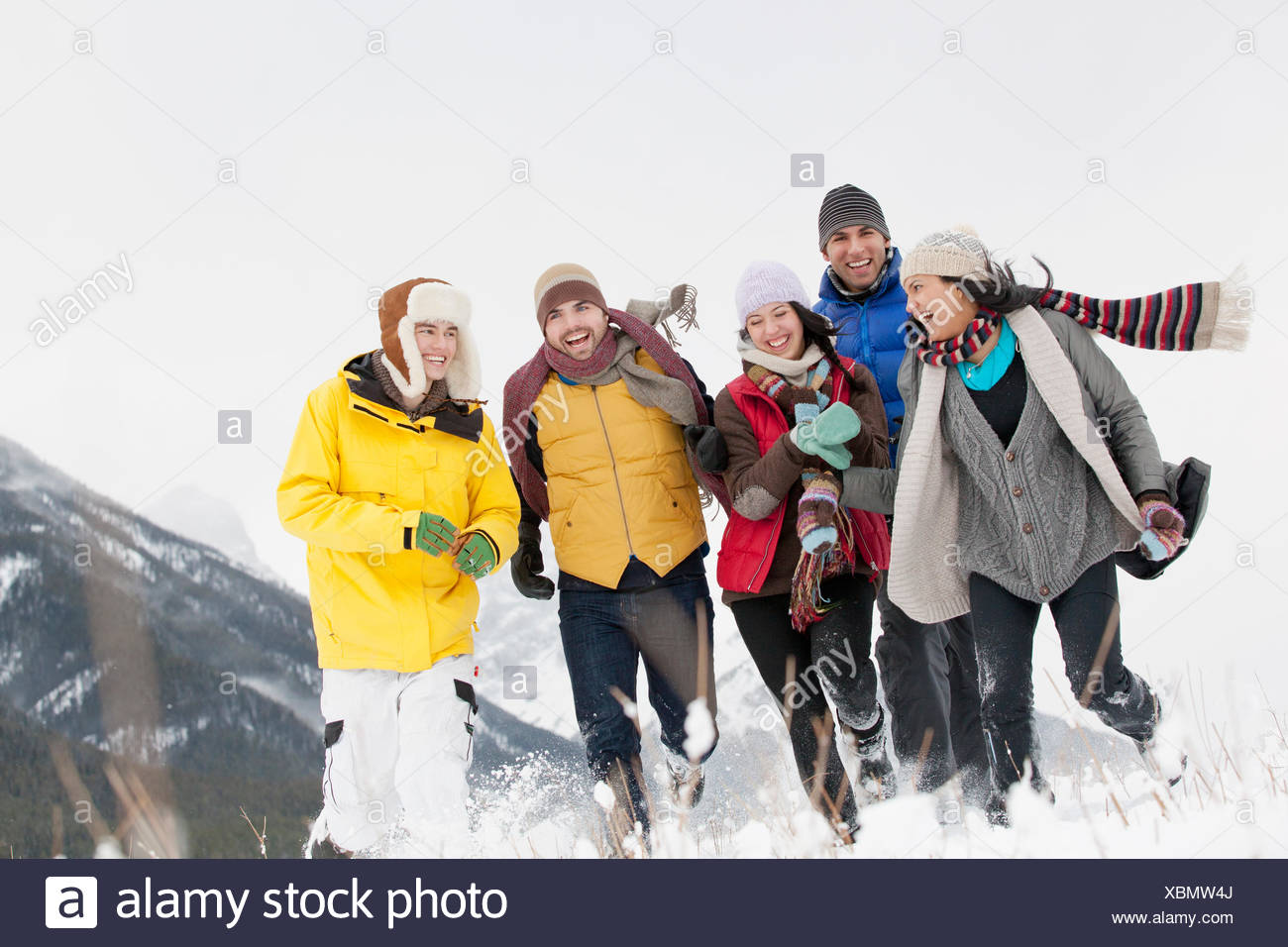 friends hiking in the wintery countryside - Stock Image