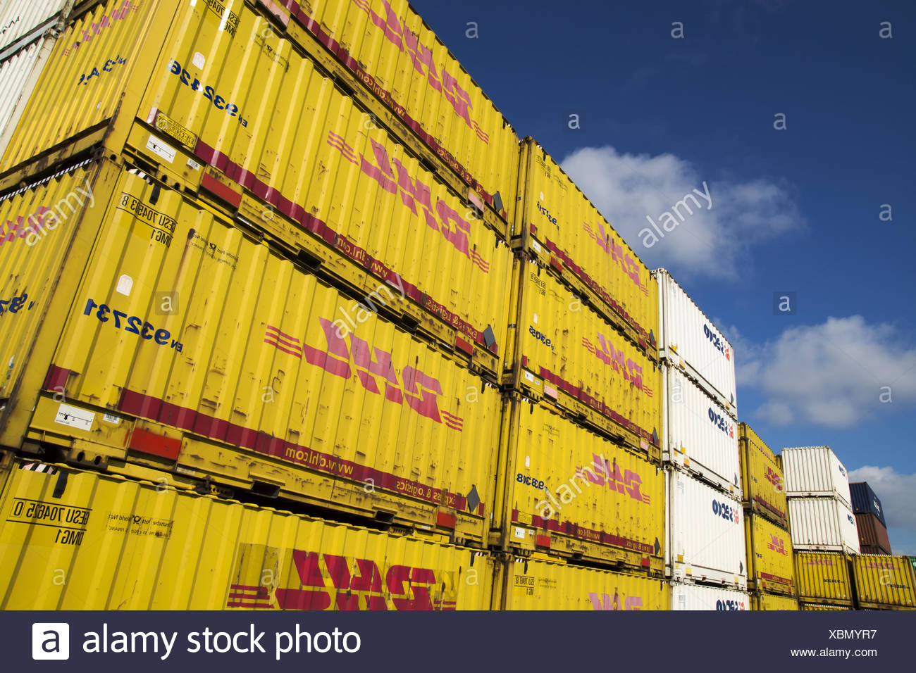In the container harbour of Dortmund, Germany Stock Photo