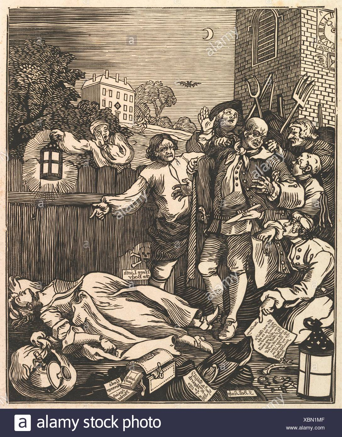 Cruelty in Perfection. Printmaker: J. Bell (British, active 1721-80); Artist: After William Hogarth (British, London 1697-1764 London); Publisher: - Stock Image