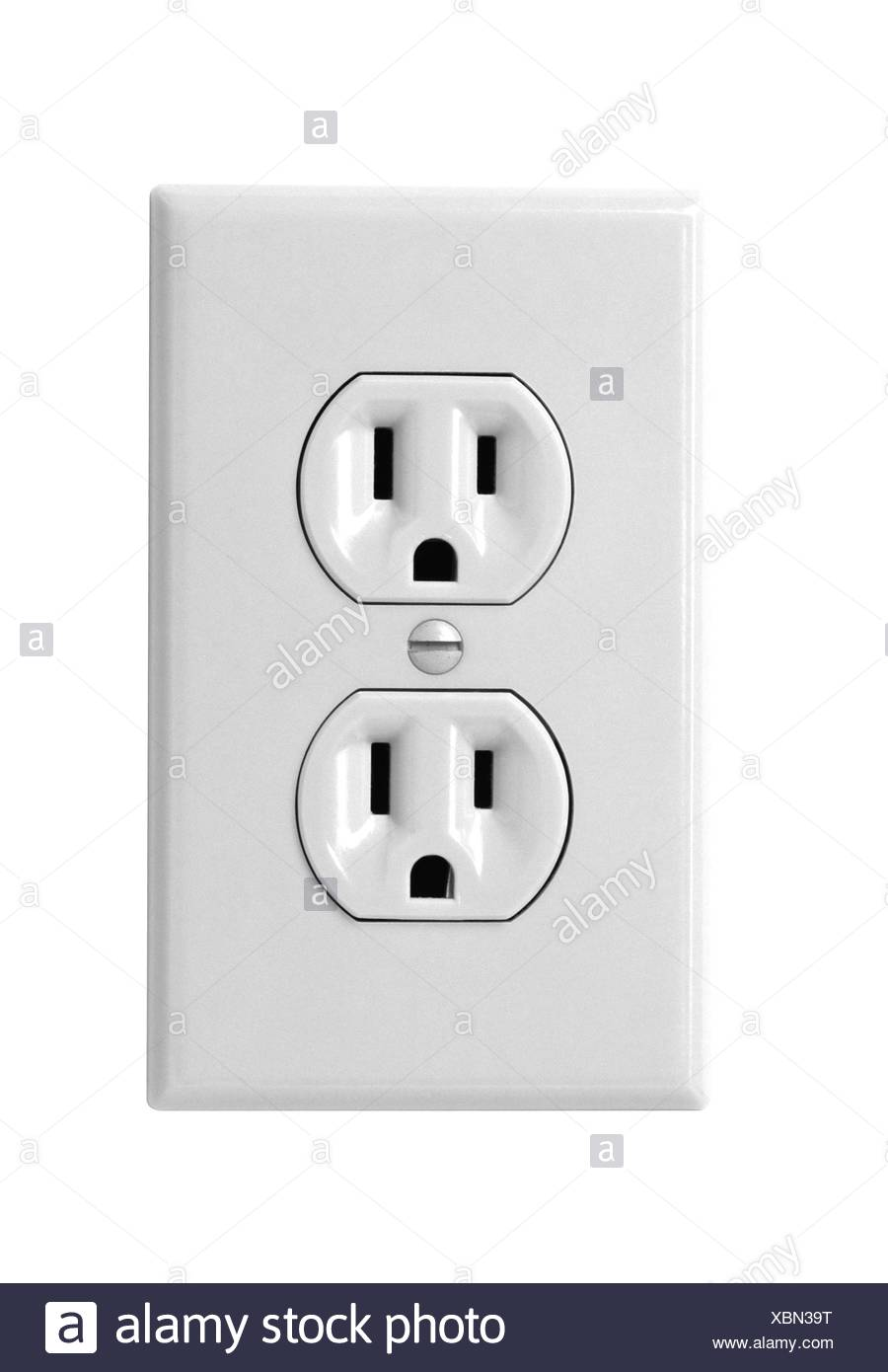 white electric wall outlet receptacle Stock Photo: 282590724 - Alamy