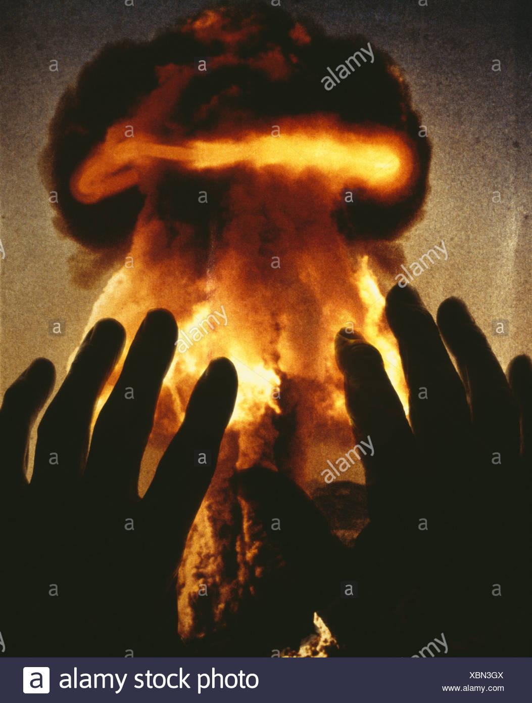 Atom bomb explosion - Stock Image