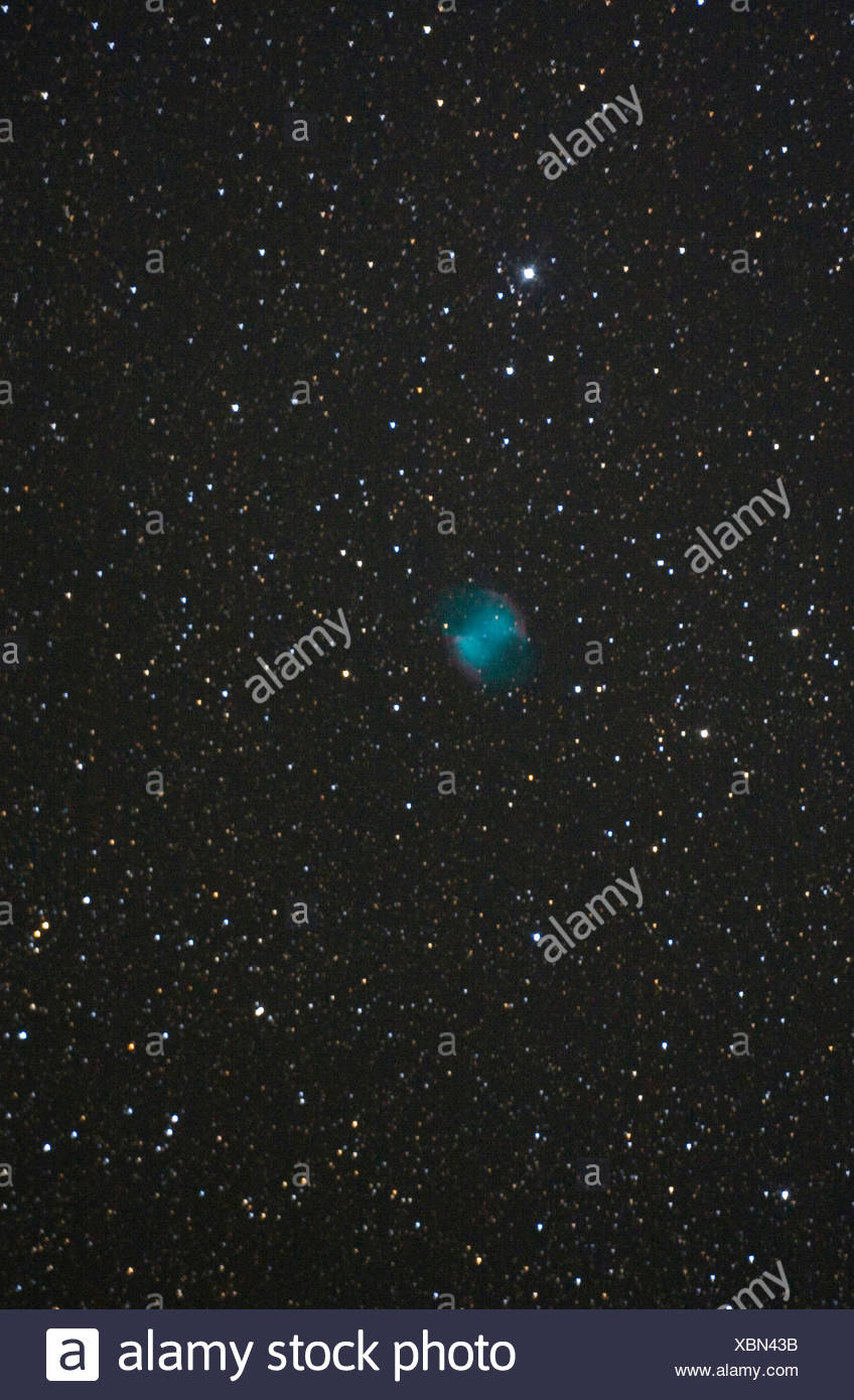 Dumbbell Nebula,  Apple Core Nebula, Messier 27, M 27, NGC 6853, 20.07.2010, Germany, Baden-Wuerttemberg, Baden-Baden - Stock Image