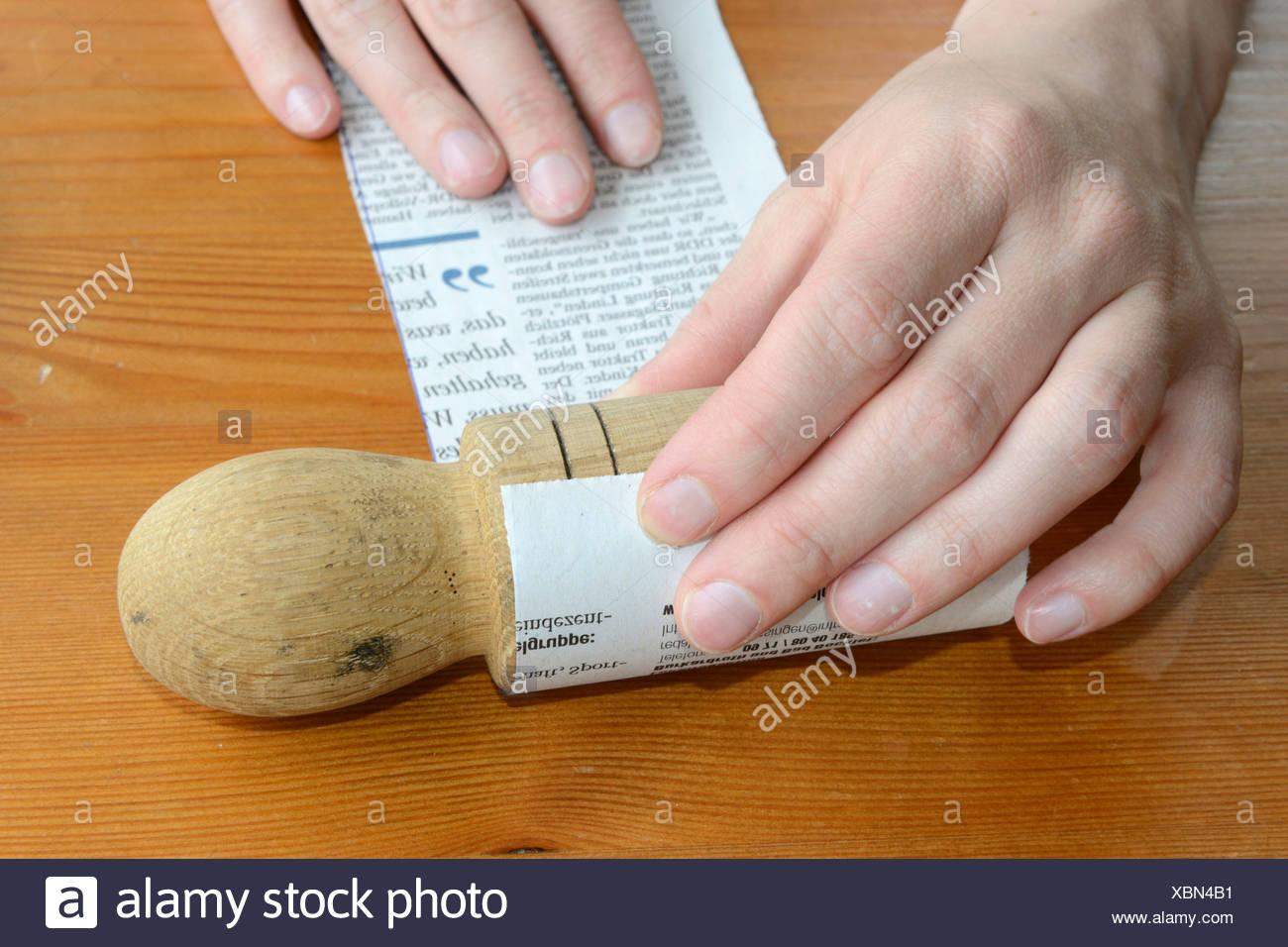 Making paper pot - Stock Image