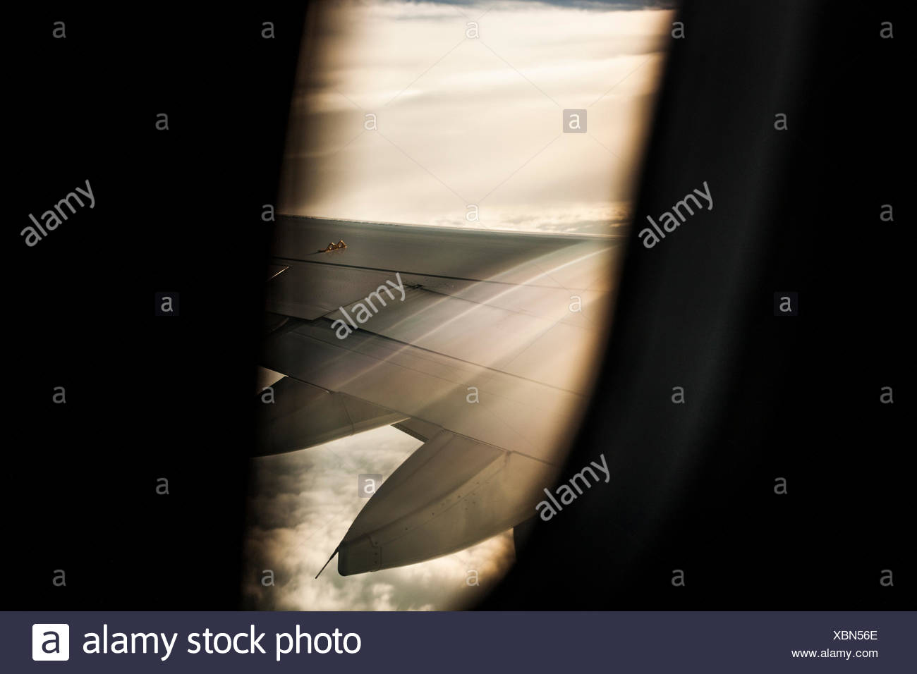 Detail of an airplane's wing while in flight - Stock Image