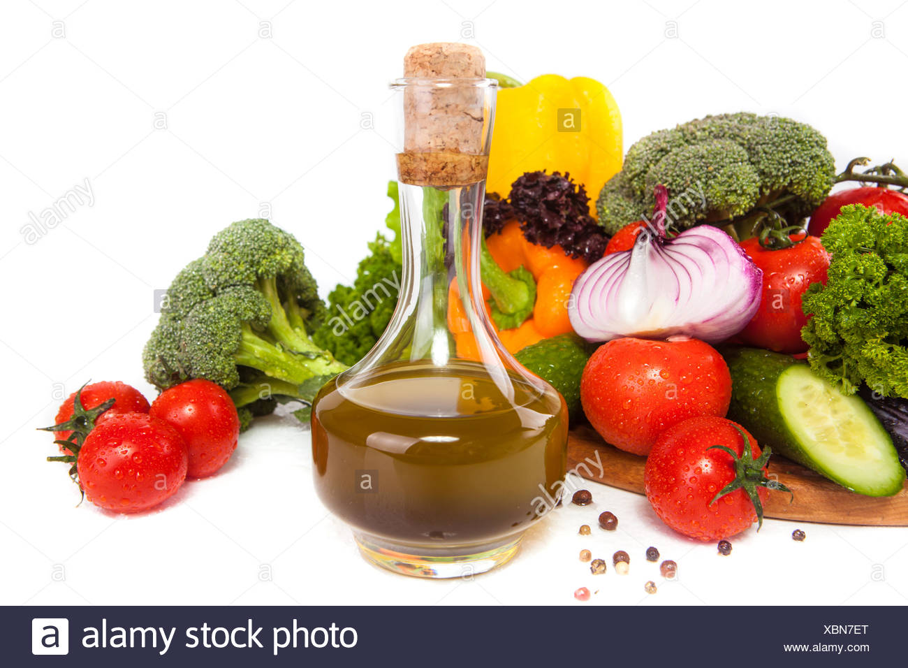vegetables and oil Stock Photo