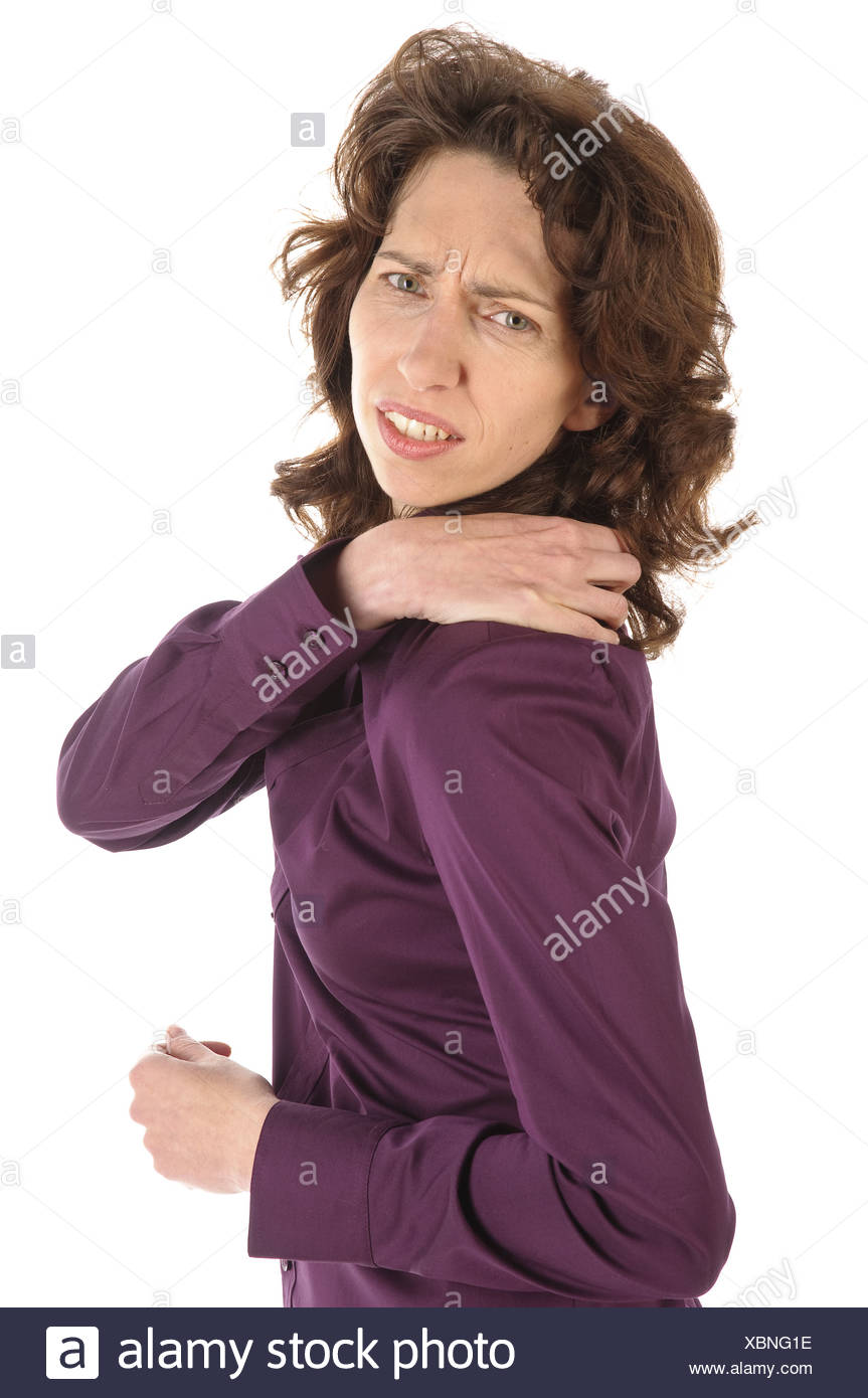 Woman is in pain - Stock Image