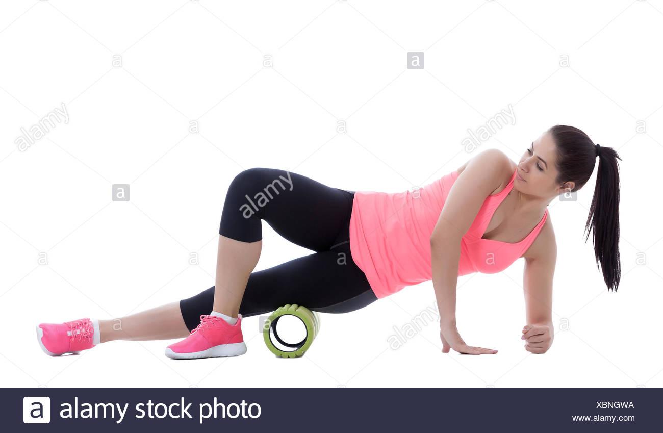 Foam Roller Exercises Stock Photo