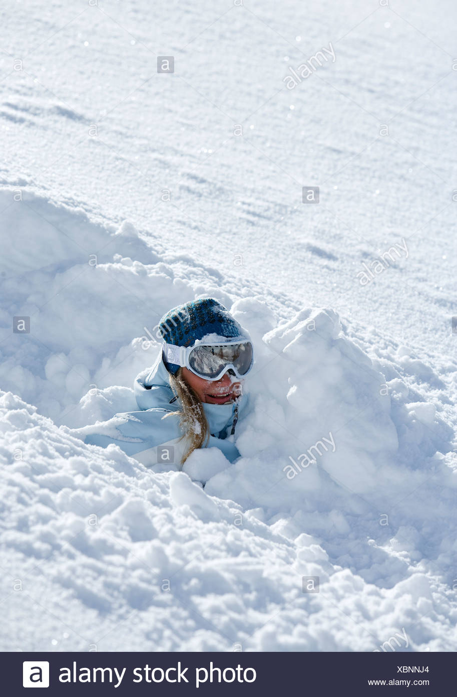Skier fallen in loose snow Chamonix France. - Stock Image