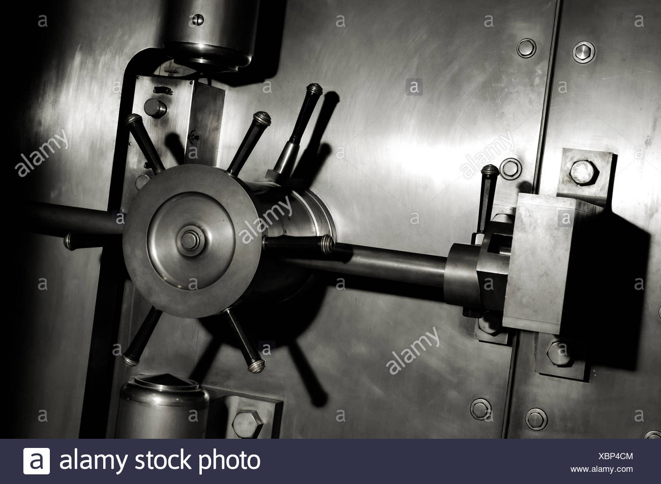 Stainless steel bank vault door lock - Stock Image