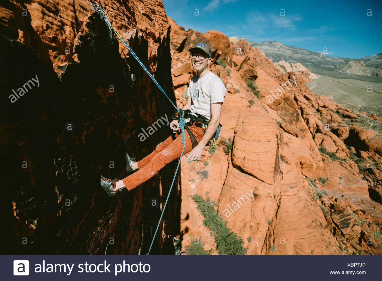 A climber on Panty Wall in Red Rock Canyon, Nevada Stock Photo
