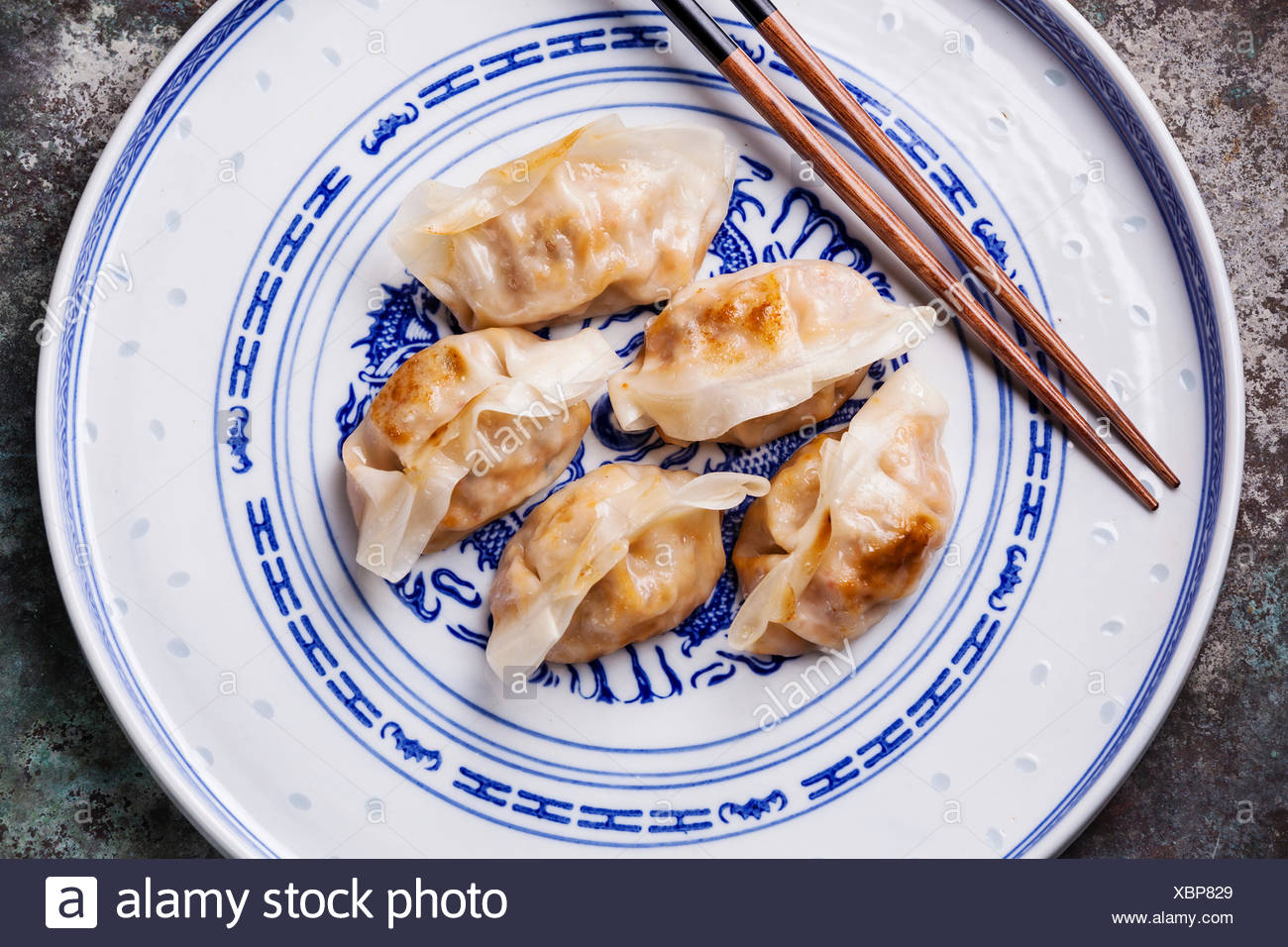 special Kimchi Fried Dumplings close up - Stock Image