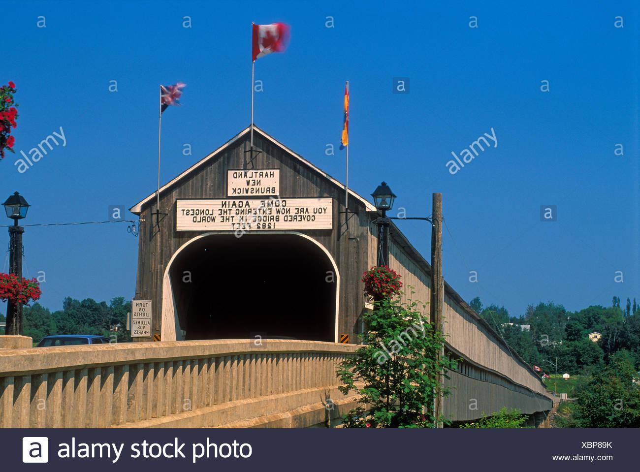 World's Longest Covered Bridge Hartland New Brunswick Canada - Stock Image
