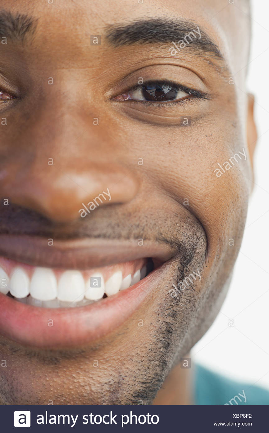 Cropped image of smiling man - Stock Image