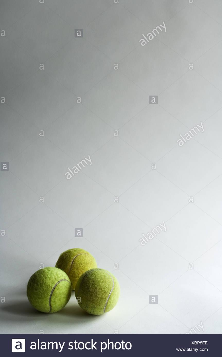 Three tennis balls, studio shot - Stock Image