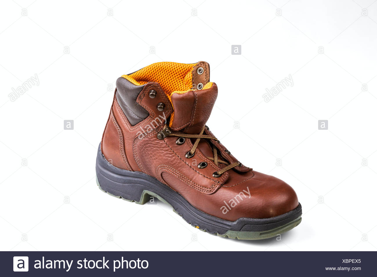 brown men's boot isolated on white background Stock Photo