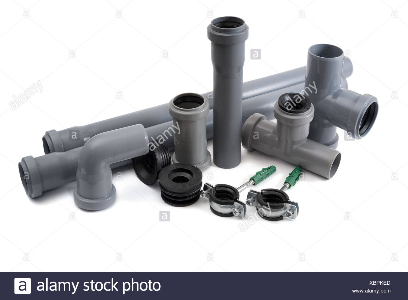 Sewer pipes of pvc - Stock Image