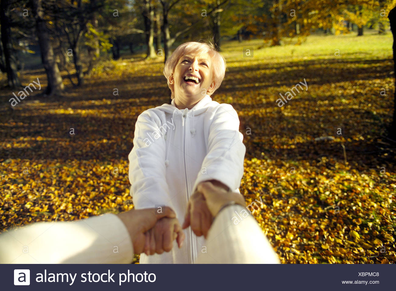 Park, Senior couple, hands hold, rotate, melted, happy, detail, 55 laugh - 65 years, couple, senior citizens, Best Agers, Jung-remaining, man, detail, hands, partner, happy, dance, togetherness, love, fun, amusement, cheerfulness, revolve, joy, joy life, - Stock Image