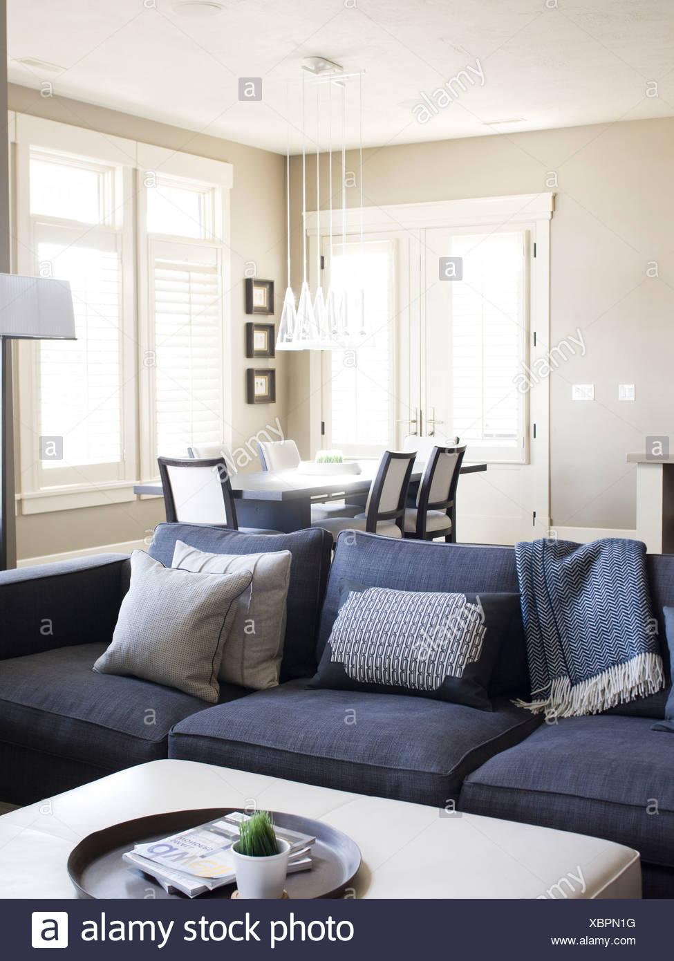 USA, Utah, Provo, Sofa in luxury home - Stock Image