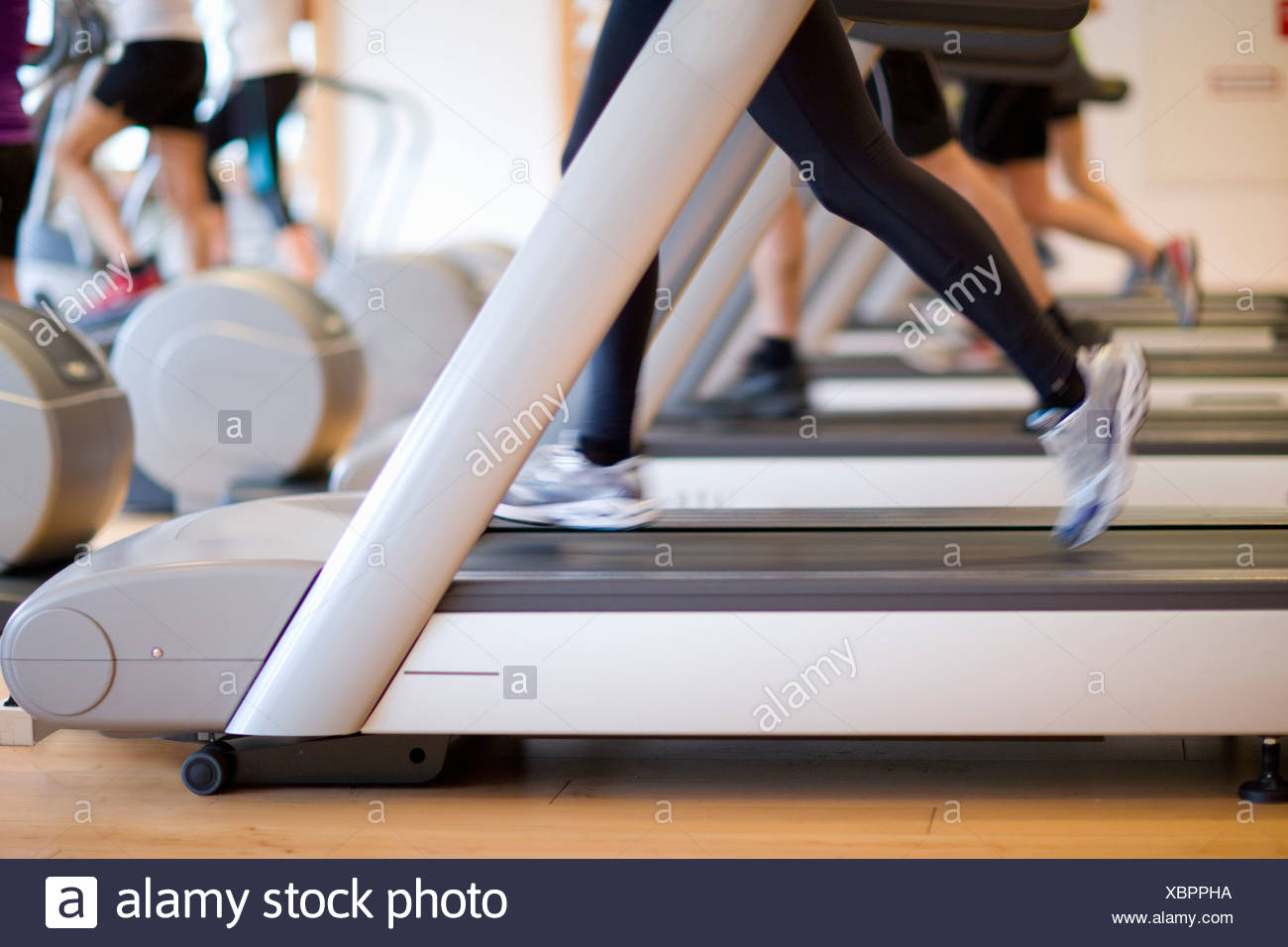 Legs of people running on treadmills in gym - Stock Image