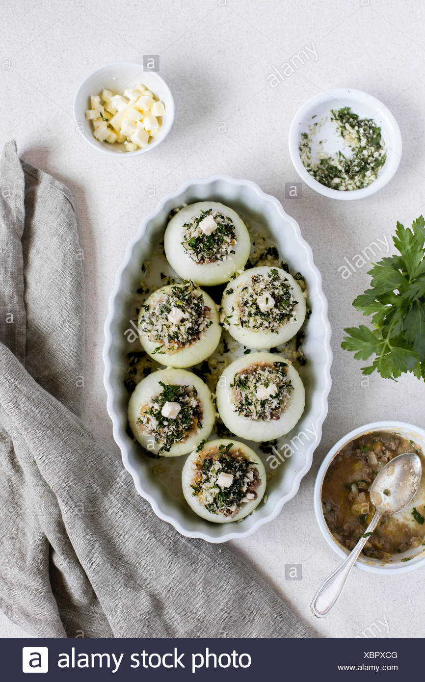Lamb Stuffed Onions photographed from the front before they went to the oven. - Stock Image