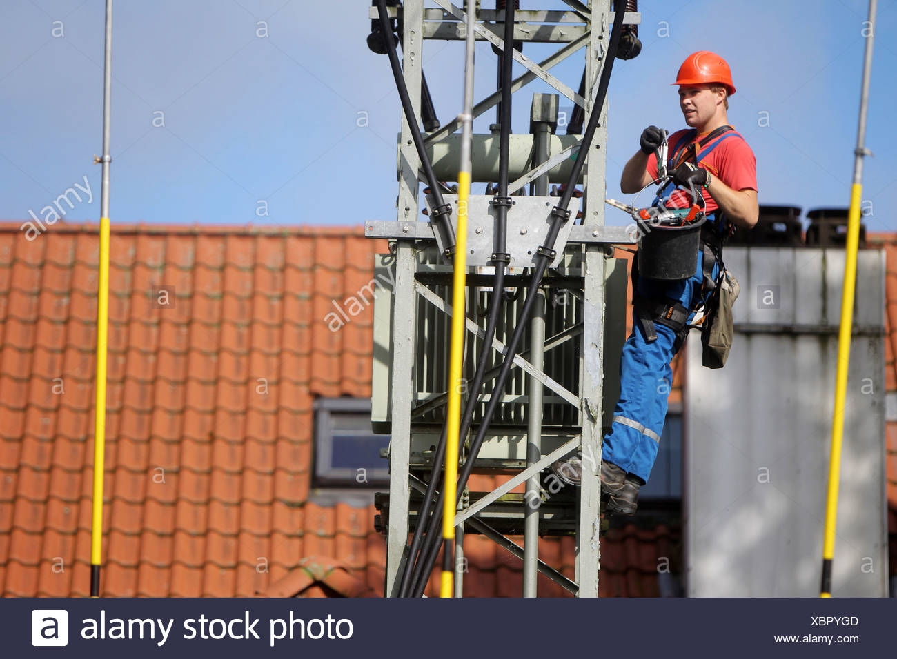 Handewitt, Germany, employee of an electrical company dismantled a transformer Stock Photo