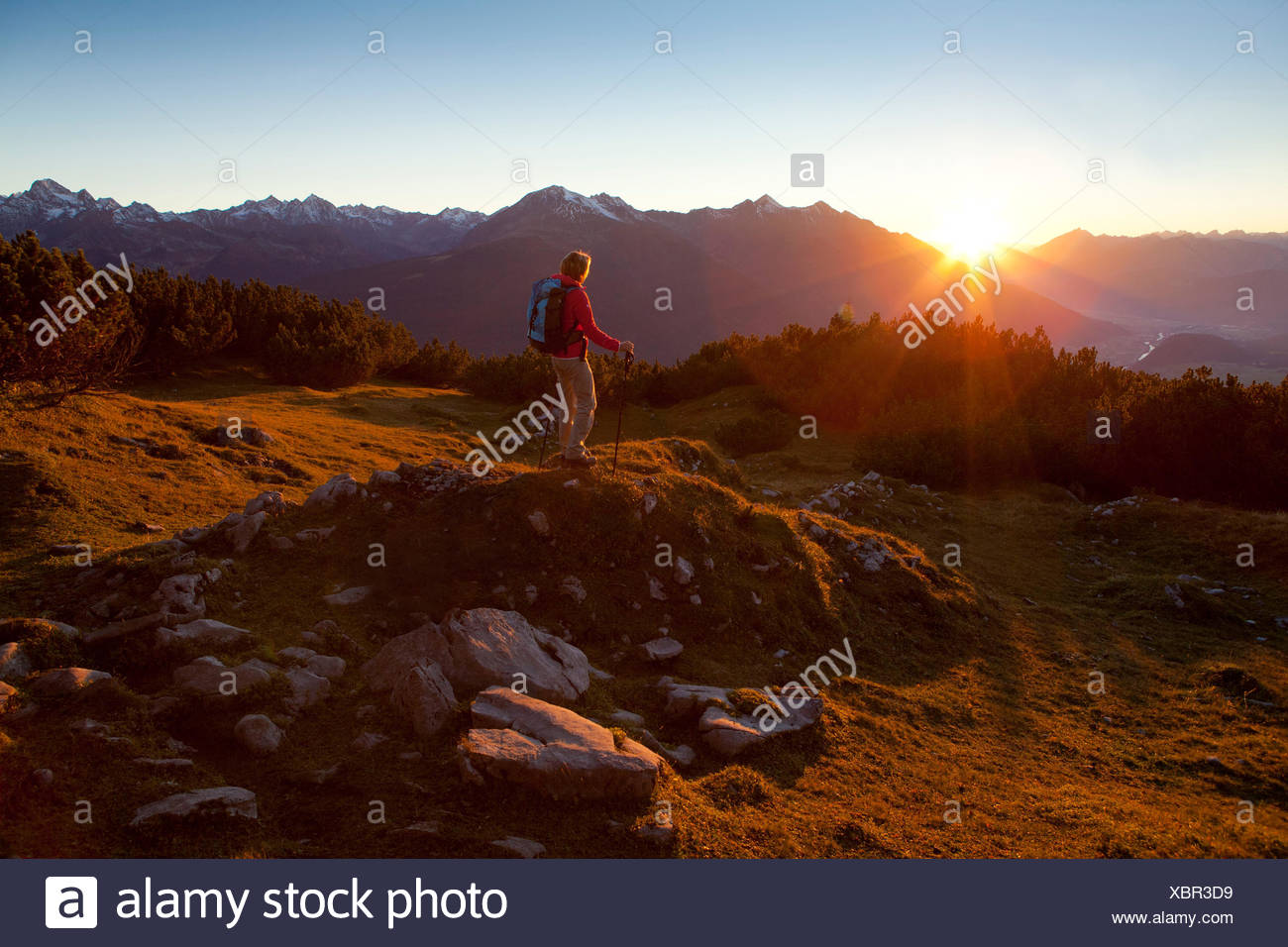 Austria, Tyrol, Obsteig, sunrise in the Simmering - Stock Image