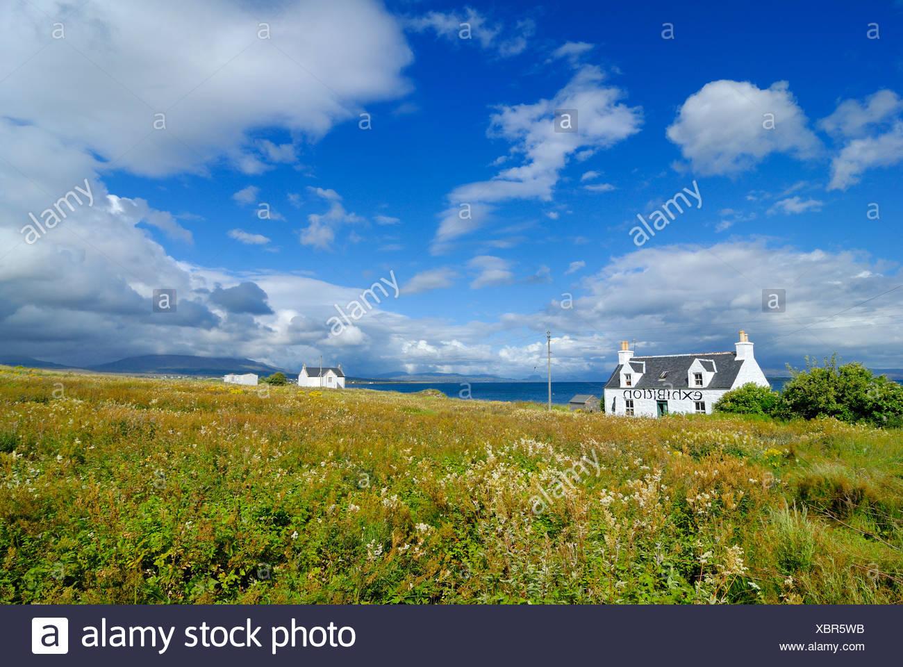 Houses on Broadford Bay, Isle of Skye, Scotland, Great Britain, Europe - Stock Image