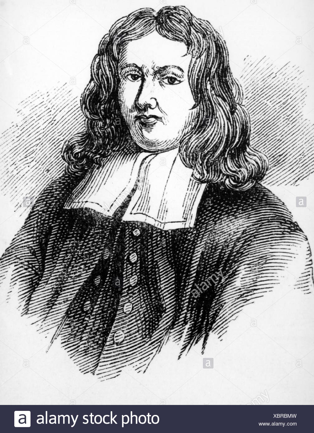Sydenham, Thomas, 10.9.1624 - 29.12.1689, English physician, portrait, wood engraving, 19th century, , Additional-Rights-Clearances-NA - Stock Image
