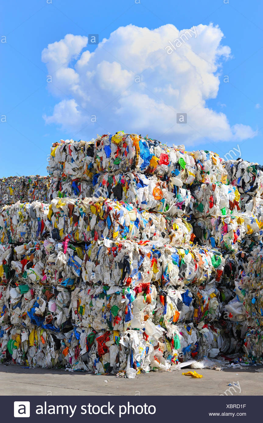 Stacked plastic rubbish, Hamburg, Hamburg, Hamburg, Germany - Stock Image
