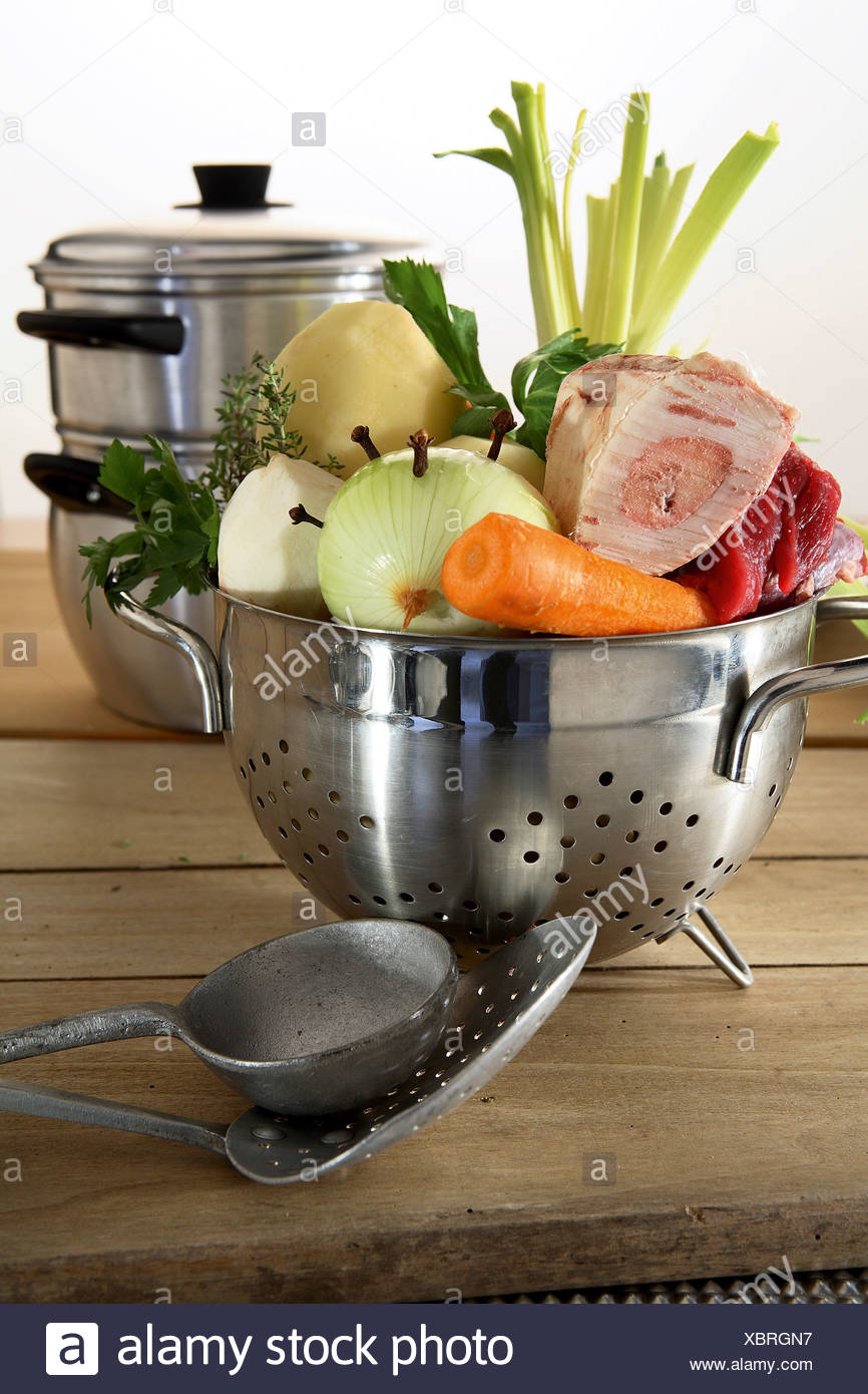 Prepared vegetables for Pot-au-feu - Stock Image