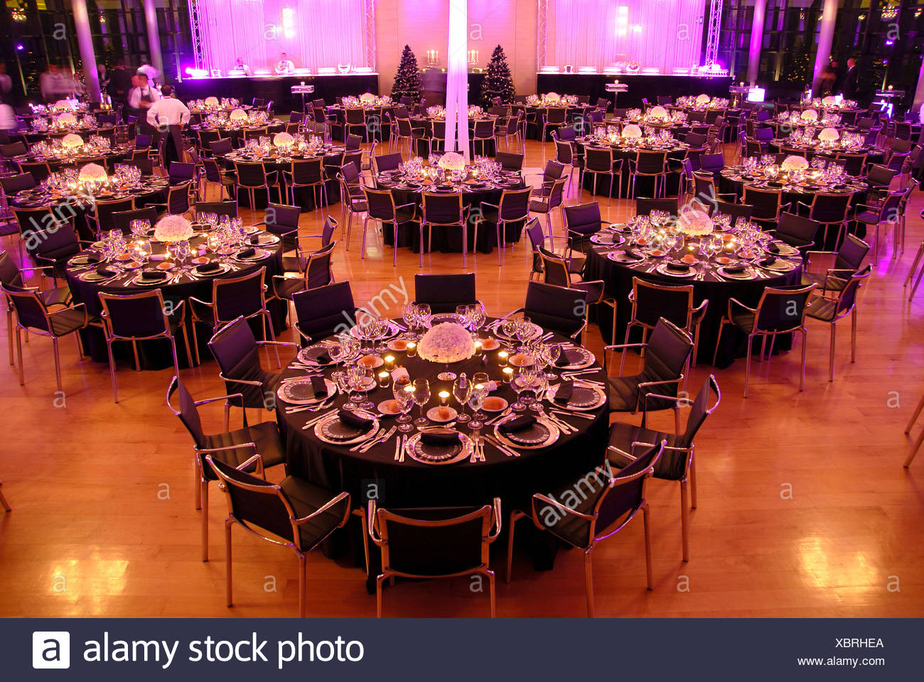 Event company evening decoration adornment table desk festival food dinner hall Food indoor indoors gala tables evening Stock Photo