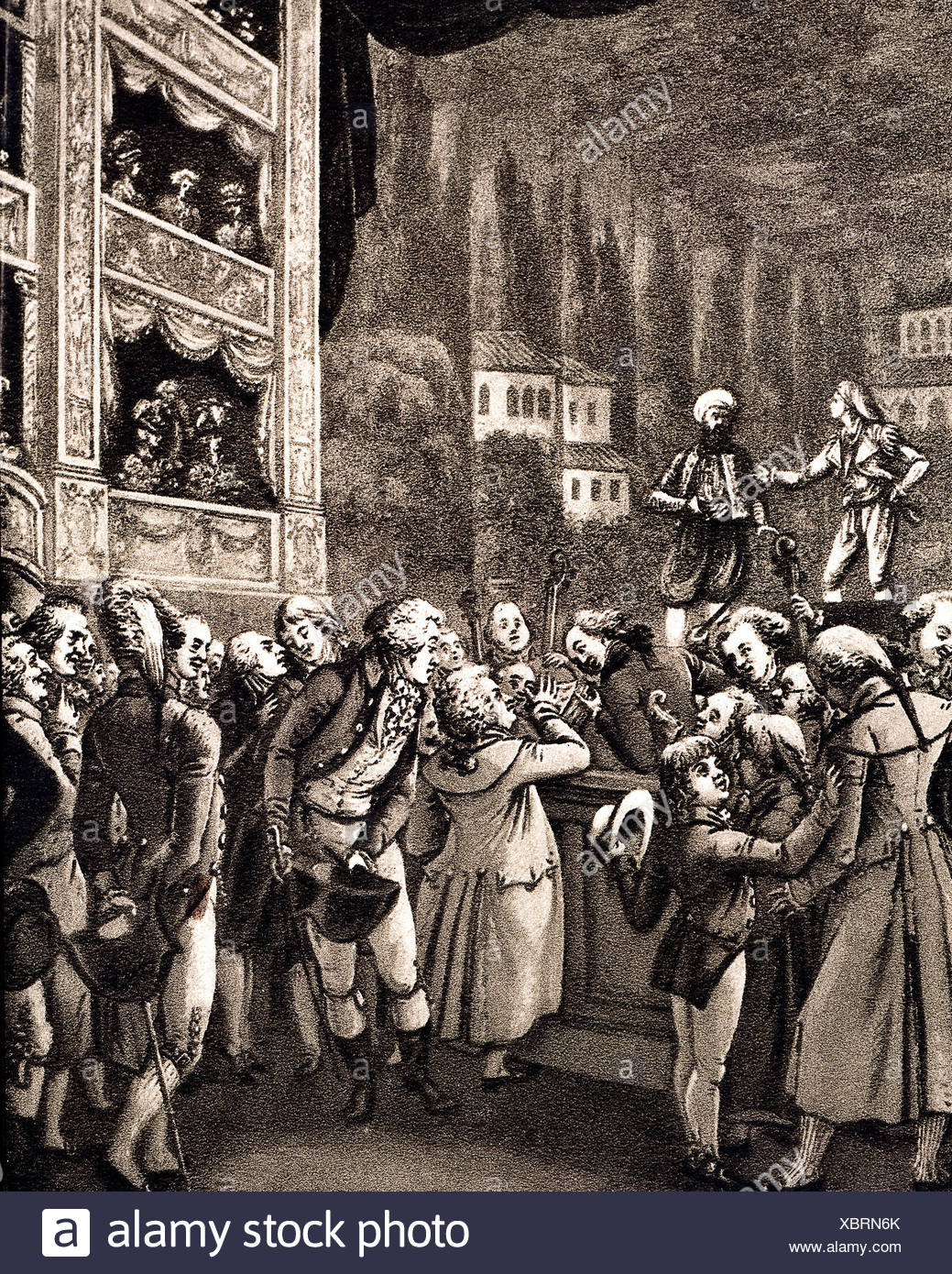 Mozart, Wolfgang Amadeus, 27.1.1756 - 5.12.1791, Austrian musician, composer, visiting the Berlin Theatre, stage performance 'The Abduction from the Seraglio', later image, , Additional-Rights-Clearances-NA - Stock Image