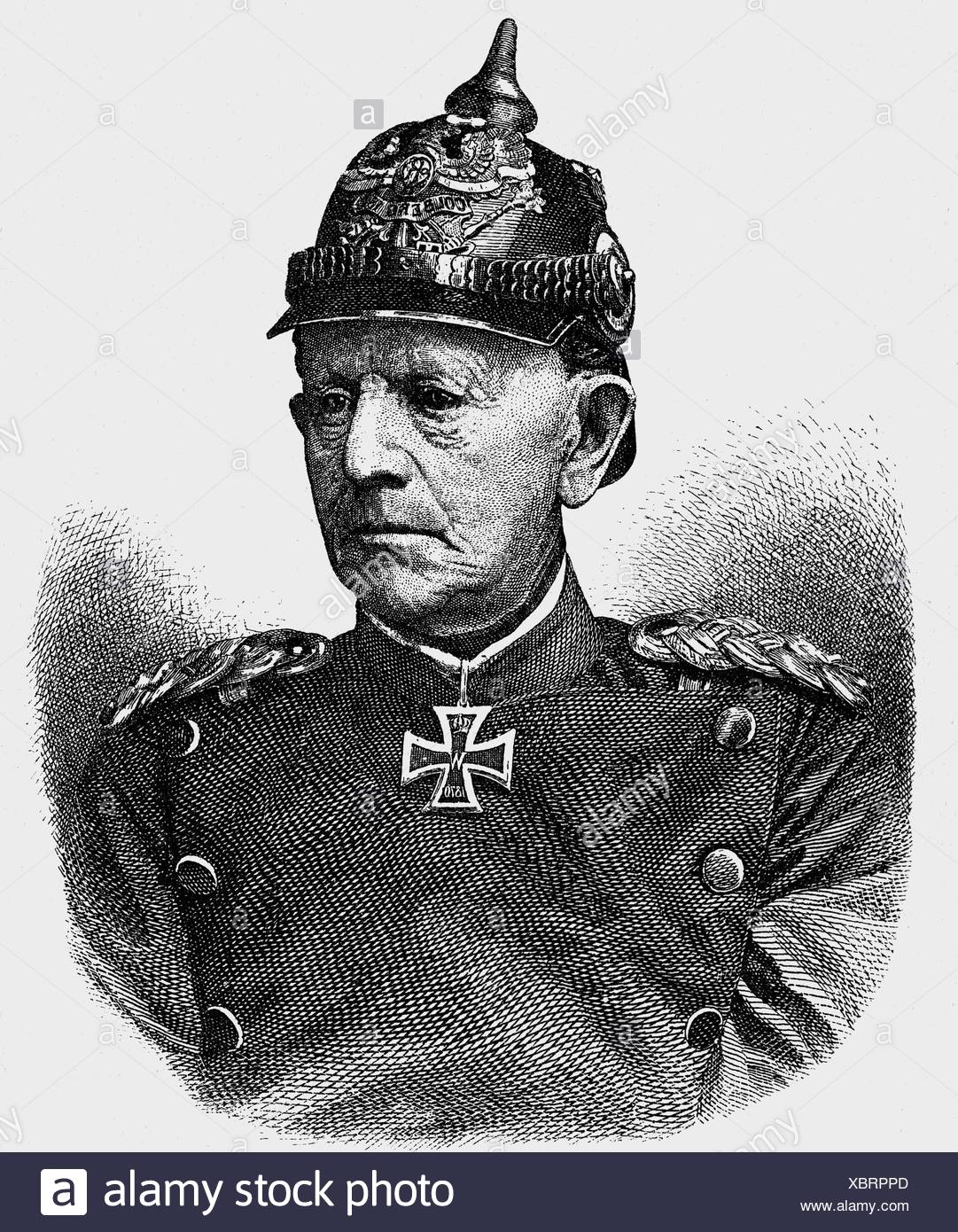 Moltke, Helmuth Karl von, 26.10.1800 - 24.4.1891, Prussian general, Chief of General Staff 1858 - 1888, portrait, wood engraving, late 19th century, , Additional-Rights-Clearances-NA - Stock Image