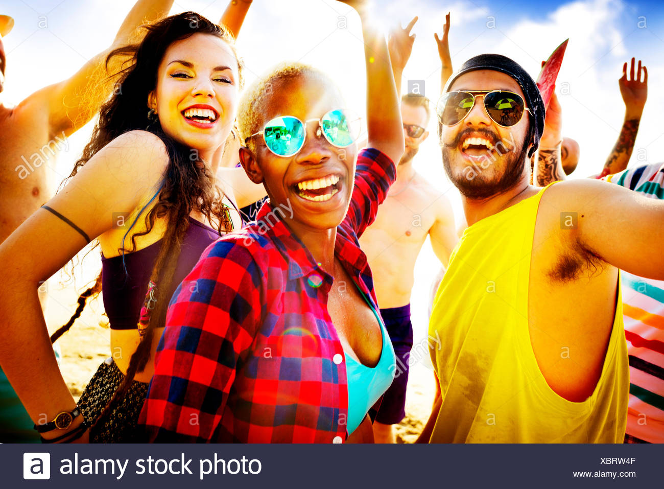 Friends Summer Beach Party Festival Concept - Stock Image