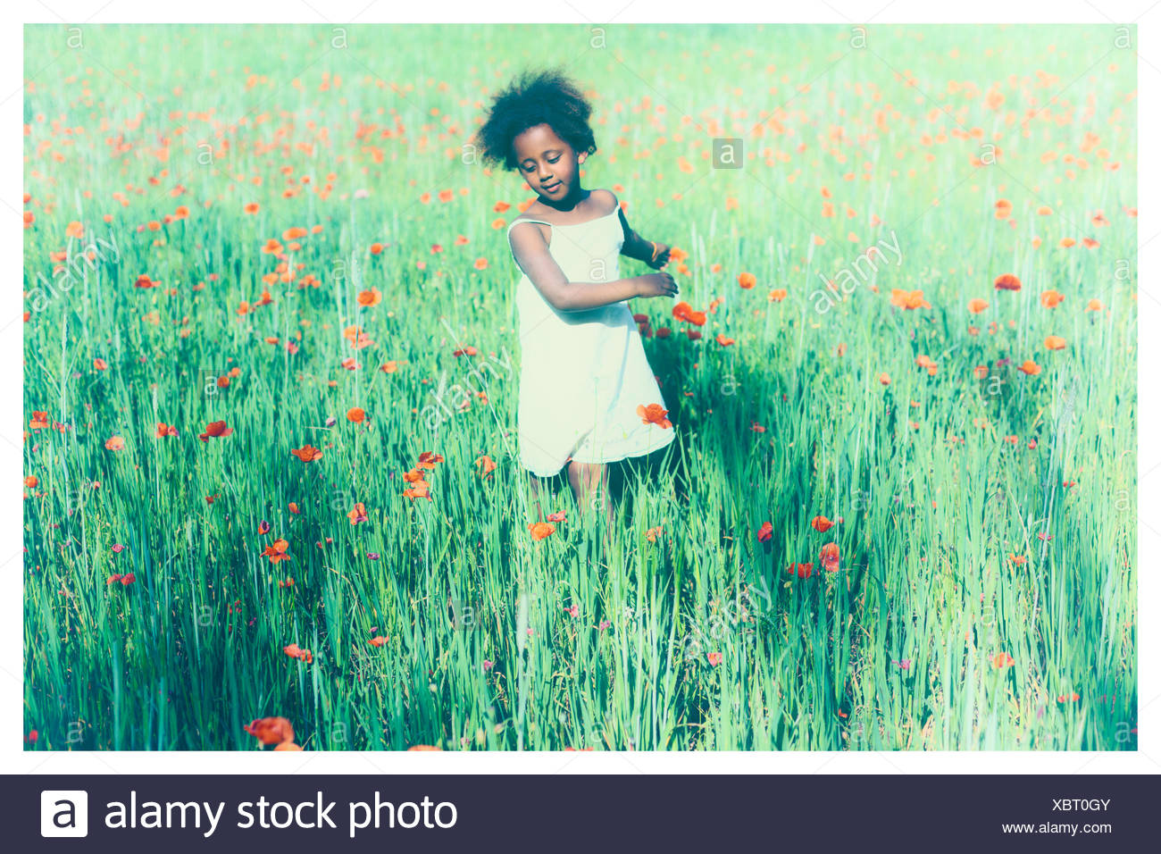 Girls standing in meadow with poppies - Stock Image