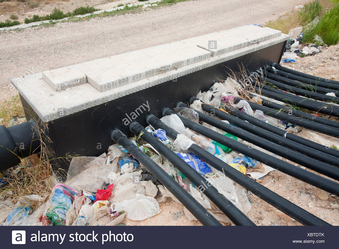 Bio Methane being captured from a landfill site in Alicante, Costa Blanca, Murcia, Spain. - Stock Image