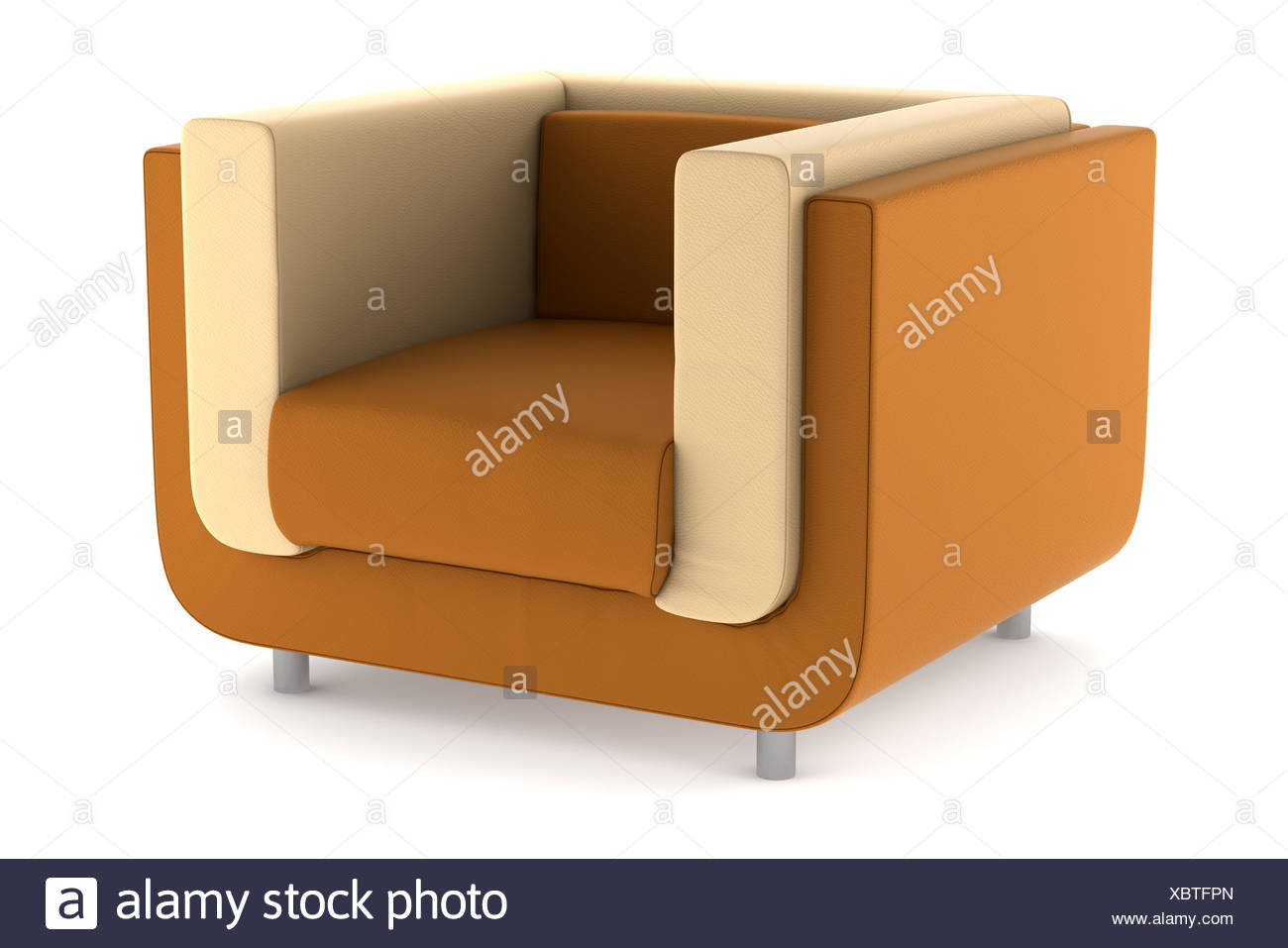 Pleasing Modern Orange Leather Armchair Isolated On White Stock Photo Machost Co Dining Chair Design Ideas Machostcouk