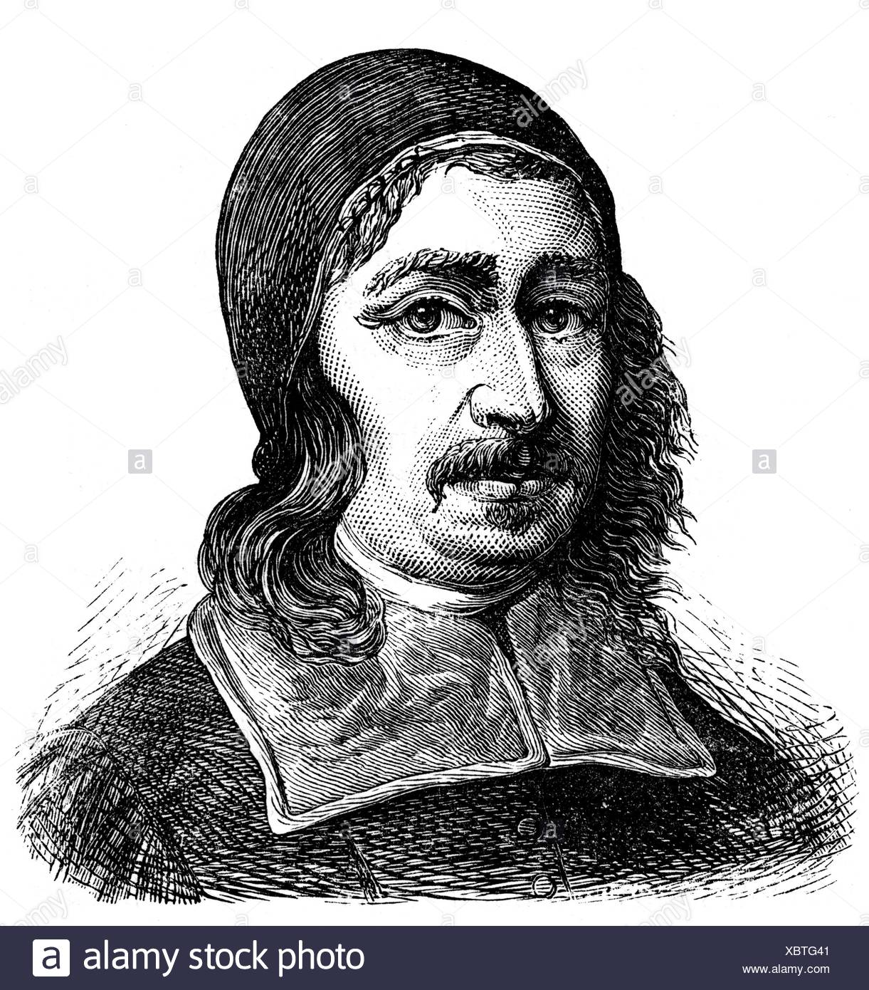 Baxter, Richard, 12.11.1615 - 8.12.1691, English clergyman, portrait, wood engraving, 19th century, Additional-Rights-Clearances-NA - Stock Image