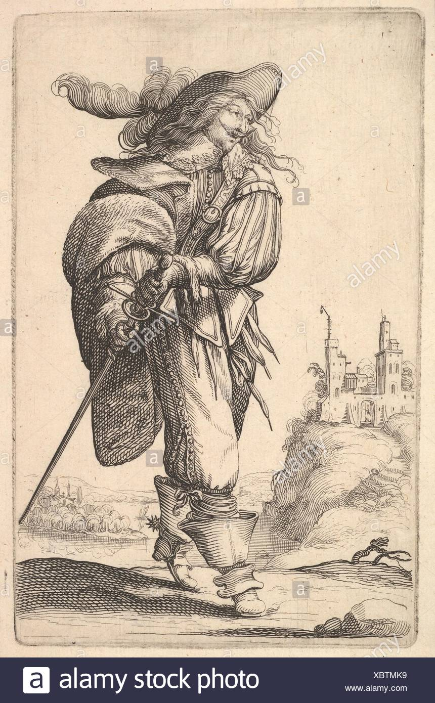 A gentleman, walking towards the left and drawing his sword from the sheath, wearing a plumed hat and boots with spurs. Series/Portfolio: The Garden Stock Photo