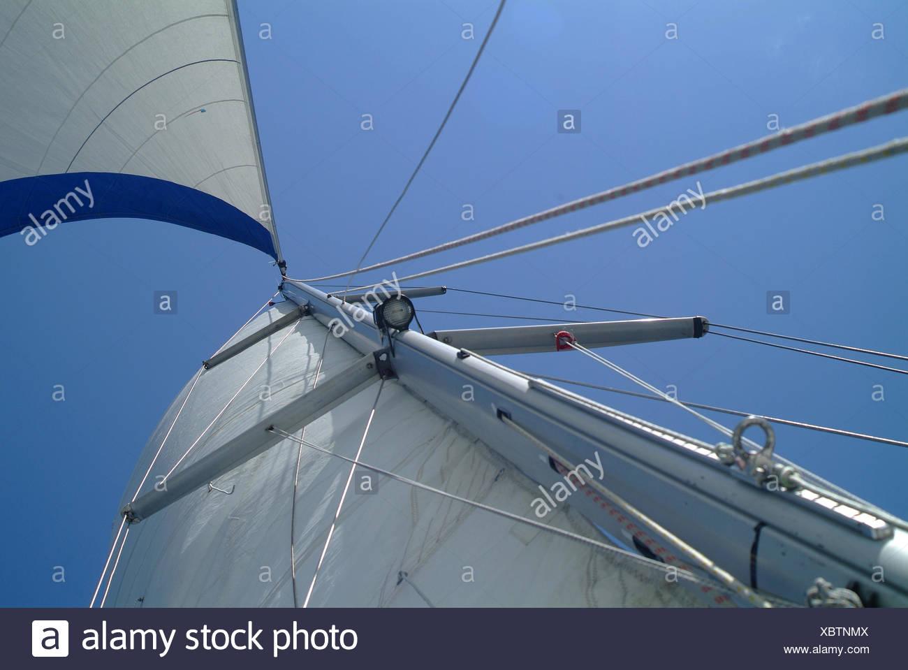 worms eye sail mast - Stock Image