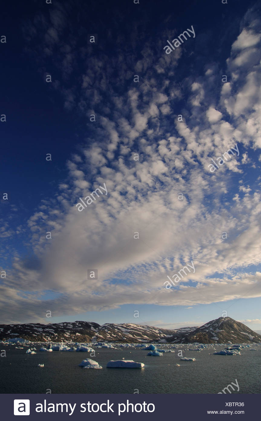 Icebergs in the Johan-Petersen-Fjord, East-Greenland, Greenland Stock Photo