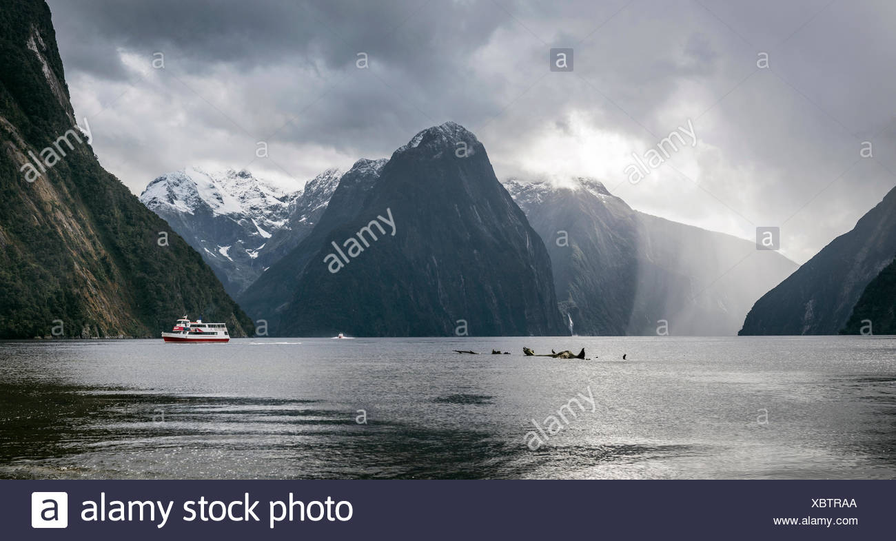Tourist boat, rainy mood, Milford Sound, Fiordland National Park, Te Anau, Southland Region, Southland, New Zealand - Stock Image