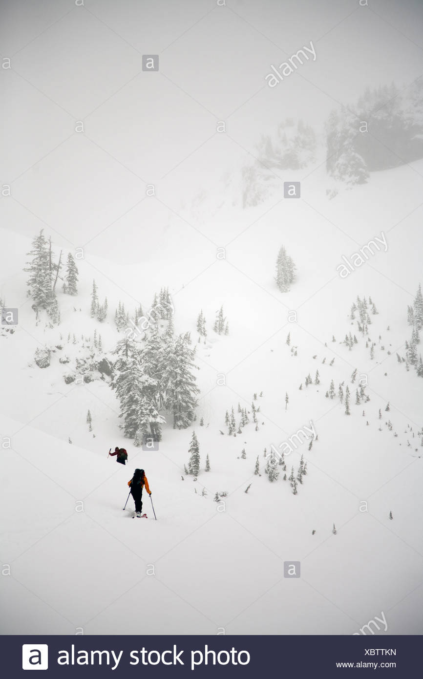 Two female backcountry skiers skin up into the mountains near Mount Baker. - Stock Image
