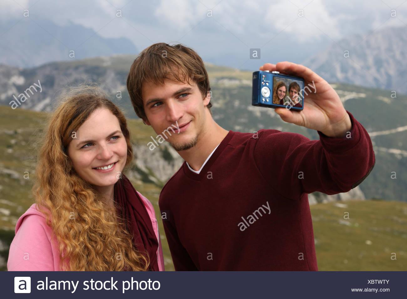 Foto als Erinnerung an den Urlaub - Stock Image
