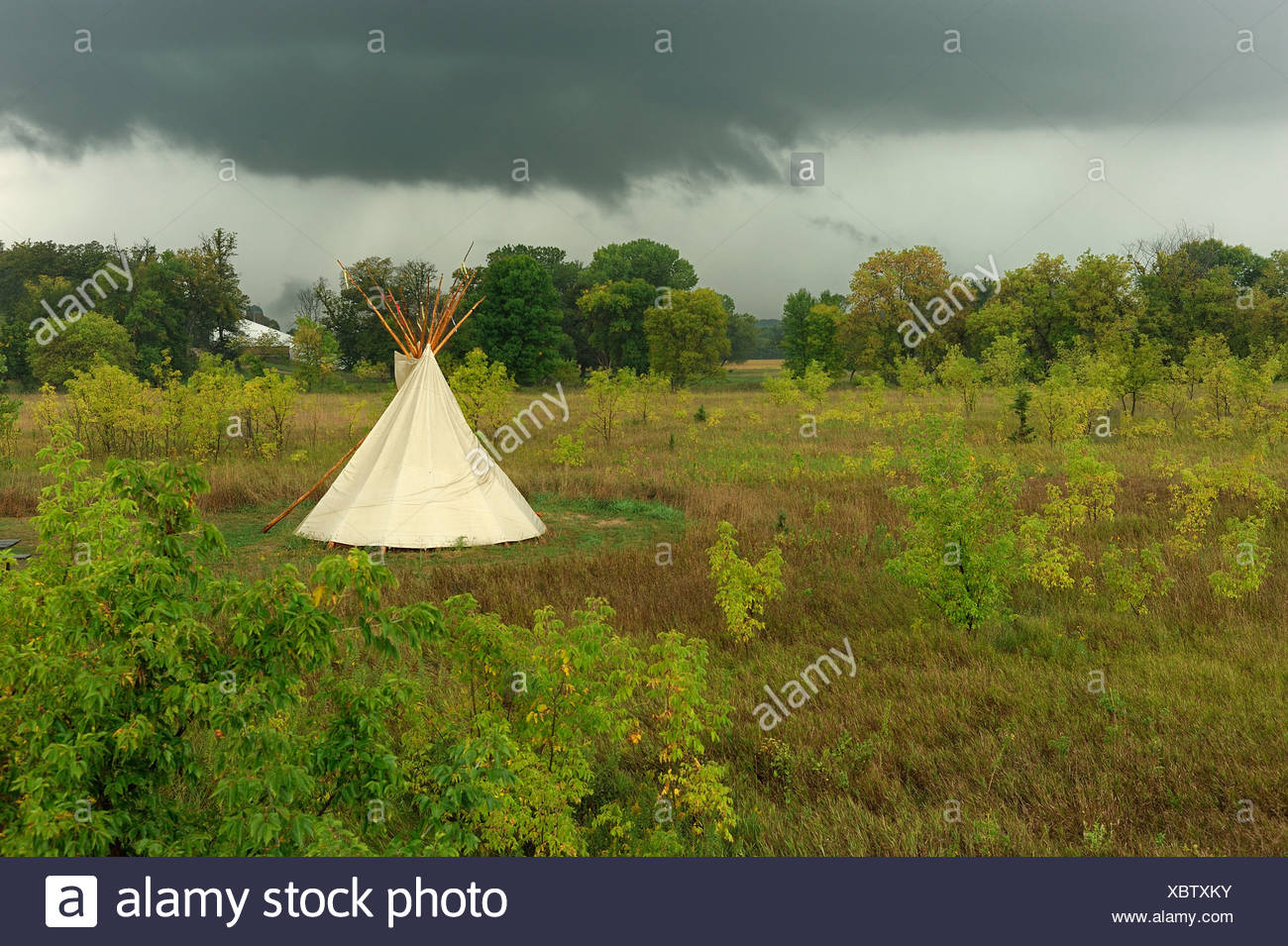 Tipi american indian tent Campground Upper Sioux Agency State Park Granite Falls Minnesota USA America United States of America - Stock Image